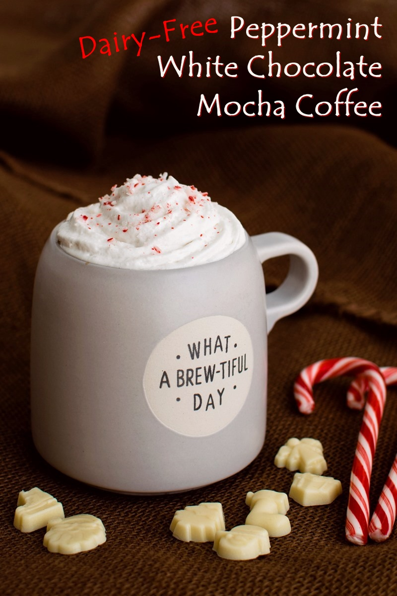Dairy-Free Peppermint White Chocolate Mocha Coffee Recipe with easy vegan white chocolate syrup - a coffeehouse hack to enjoy for the holidays and winter. Also soy-free, gluten-free, and allergy-friendly.