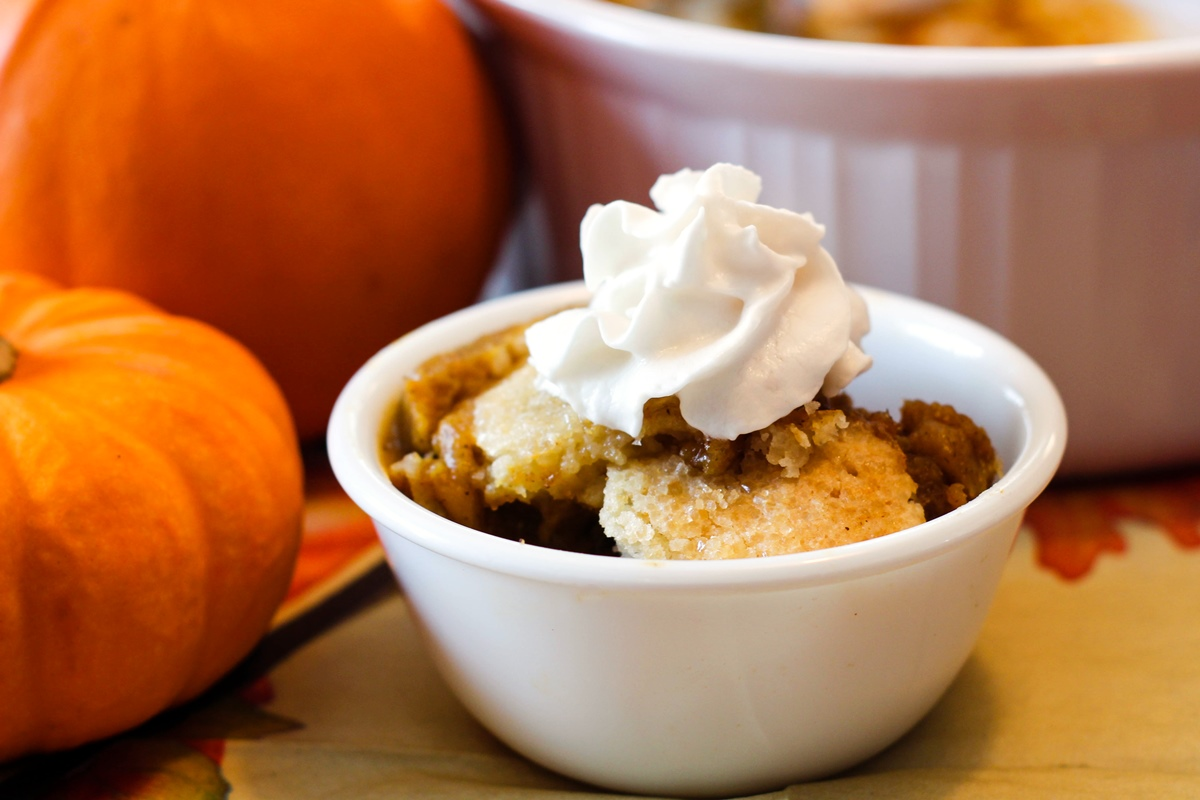 Vegan Sugar Cookie Pumpkin Cobbler Recipe - a New Dessert Tradition that Kids Can Cook! Dairy-free, egg-free, nut-free, and soy-free.