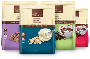 Sweet William Dairy-Free Chocolate Chips (including White Chocolate and Milk Chocolate) of Australia