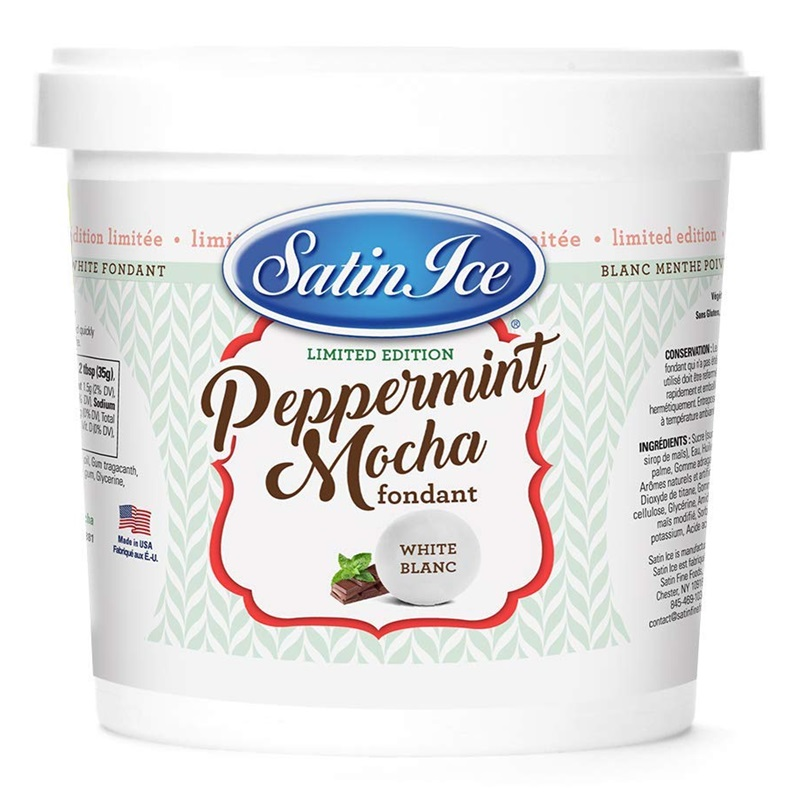 The Best Dairy-Free Chocolate Peppermint Treats (all vegan too!) - from chocolate bark to cookies, coffee to creamers, and even fondant! Pictured: Satin Ice Peppermint Mocha Fondant