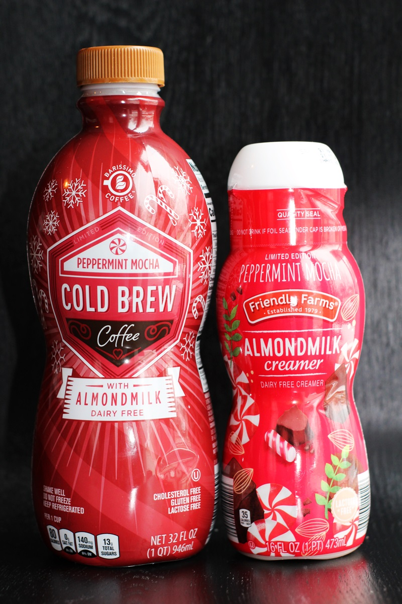 The Best Dairy-Free Chocolate Peppermint Treats (all vegan too!) - from chocolate bark to cookies, coffee to creamers, and even fondant! Pictured: Aldi Peppermint Mocha Cold Brew and Almondmilk Creamer
