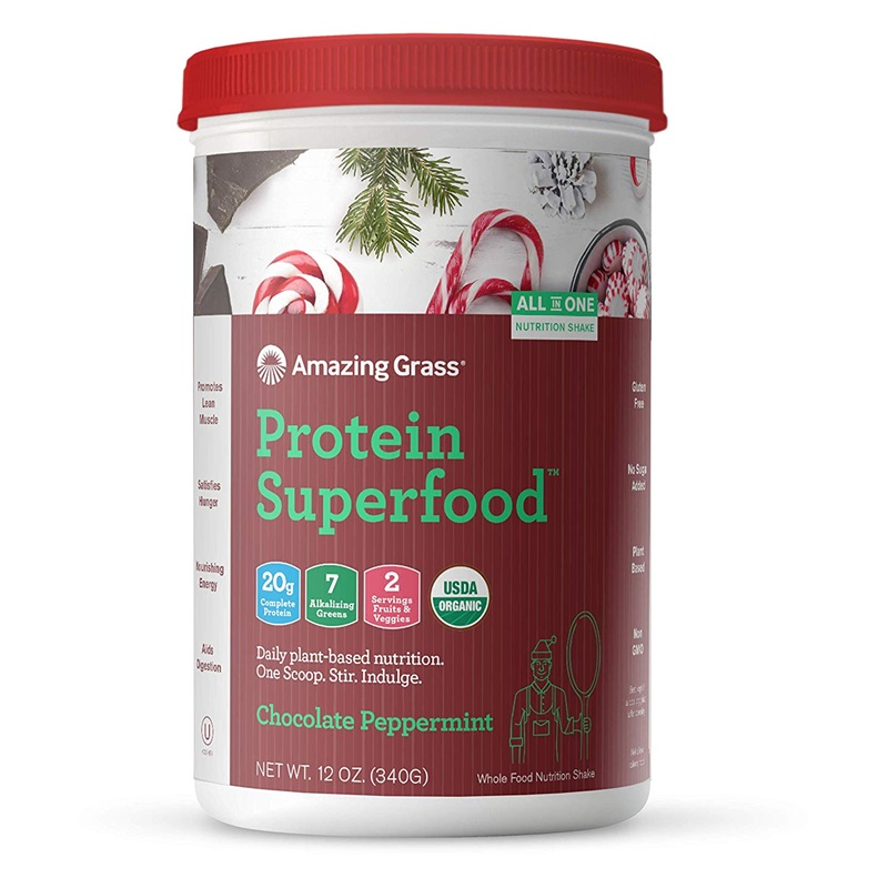 The Best Dairy-Free Chocolate Peppermint Treats (all vegan too!) - from chocolate bark to cookies, coffee to creamers, and even fondant! Pictured: Amazing Grass Chocolate Peppermint Protein Superfood