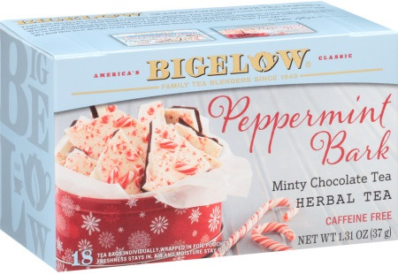 The Best Dairy-Free Chocolate Peppermint Treats (all vegan too!) - from chocolate bark to cookies, coffee to creamers, and even fondant! Pictured: Bigelow Peppermint Bark Tea
