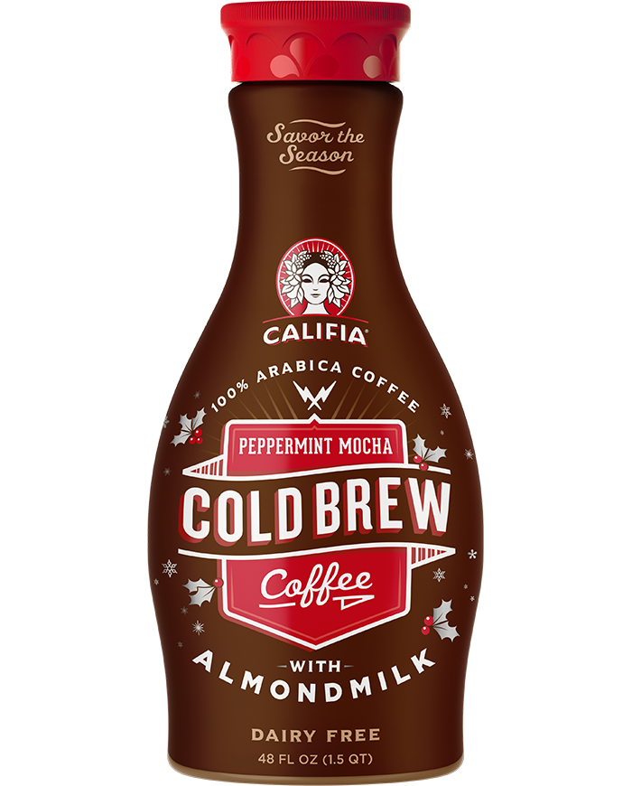 The Best Dairy-Free Chocolate Peppermint Treats (all vegan too!) - from chocolate bark to cookies, coffee to creamers, and even fondant! Pictured: Califia Peppermint Mocha Cold Brew