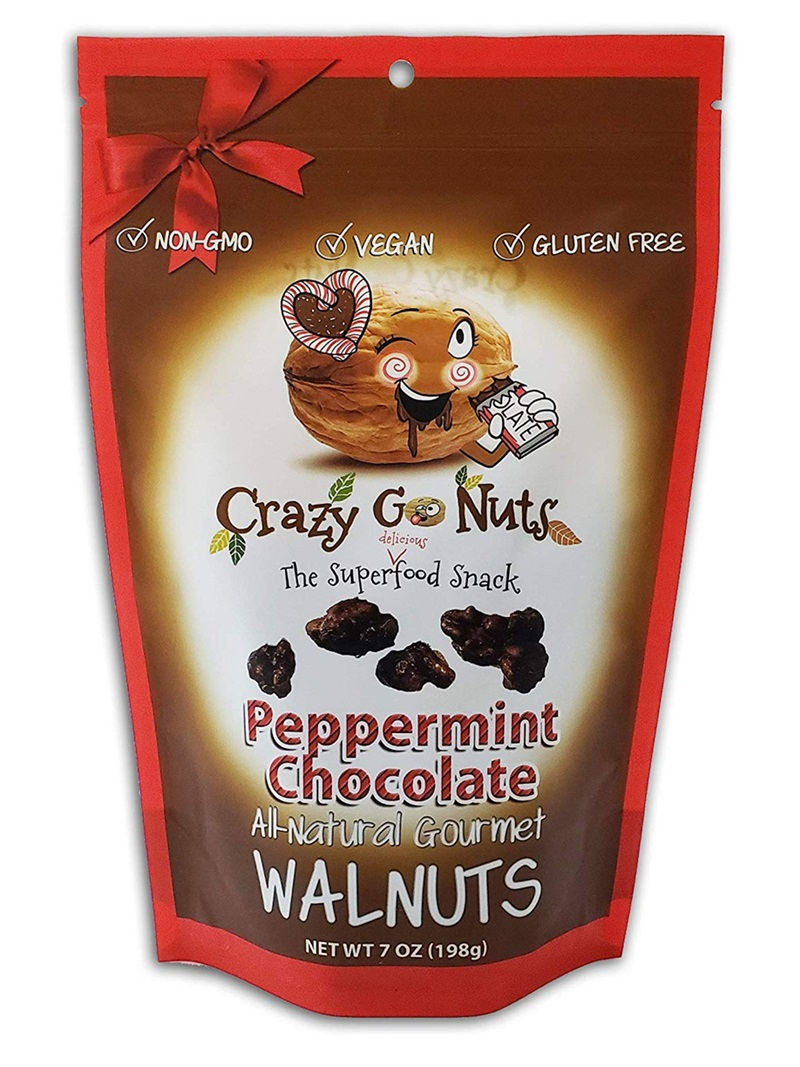 The Best Dairy-Free Chocolate Peppermint Treats (all vegan too!) - from chocolate bark to cookies, coffee to creamers, and even fondant! Pictured: Crazy Go Nuts Walnuts