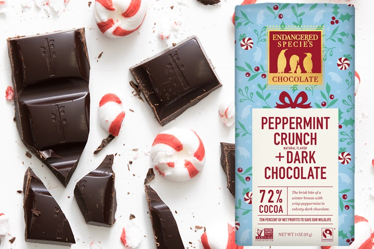 The Best Dairy-Free Chocolate Peppermint Treats (all vegan too!) - from chocolate bark to cookies, coffee to creamers, and even fondant! Pictured: Endangered Species Peppermint Crunch Bars