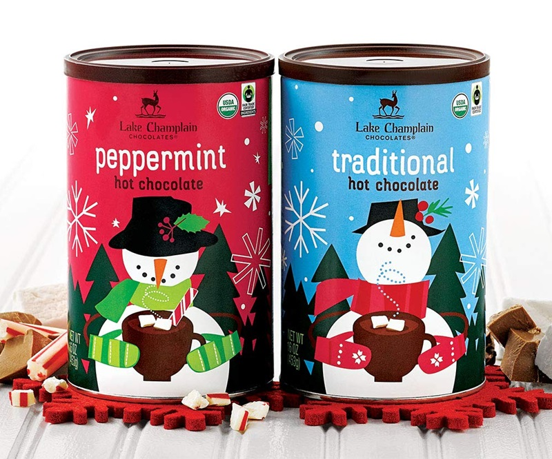 The Best Dairy-Free Chocolate Peppermint Treats (all vegan too!) - from chocolate bark to cookies, coffee to creamers, and even fondant! Pictured: Lake Champlain Peppermint Hot Cocoa