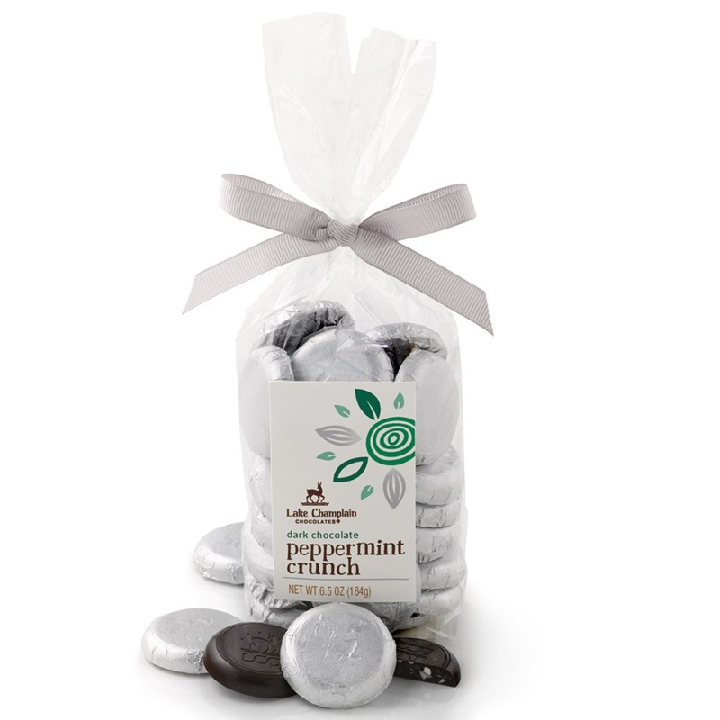 The Best Dairy-Free Chocolate Peppermint Treats (all vegan too!) - from chocolate bark to cookies, coffee to creamers, and even fondant! Pictured: Lake Champlain Chocolate Peppermint Coins