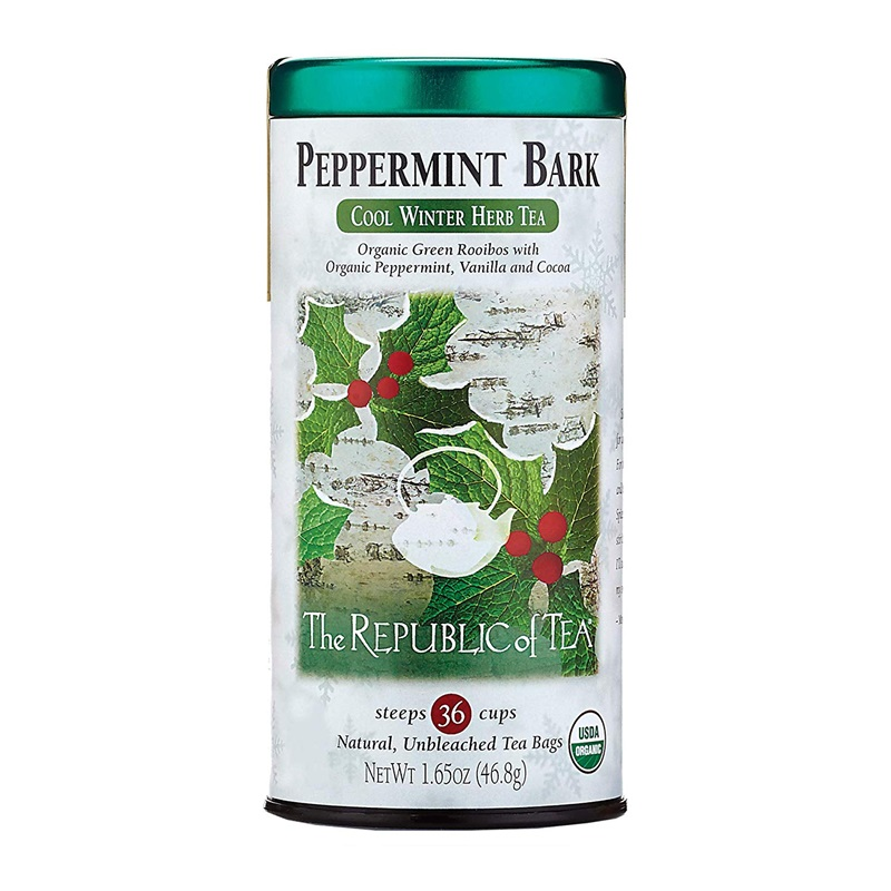 The Best Dairy-Free Chocolate Peppermint Treats (all vegan too!) - from chocolate bark to cookies, coffee to creamers, and even fondant! Pictured: Republic of Tea Peppermint Bark Tea