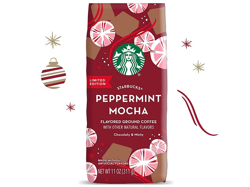 The Best Dairy-Free Chocolate Peppermint Treats (all vegan too!) - from chocolate bark to cookies, coffee to creamers, and even fondant! Pictured: Starbucks Peppermint Mocha Coffee