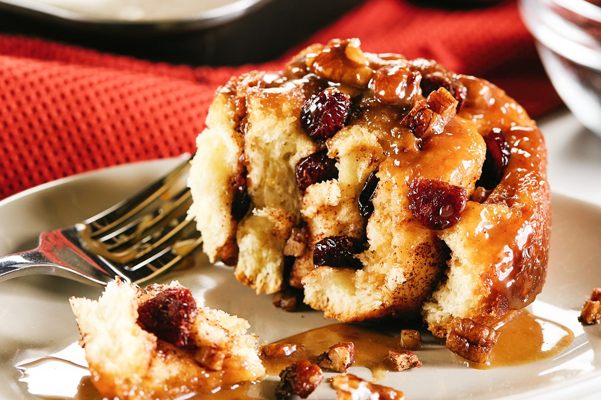 Dairy-Free Upside Down Caramel Pecan Cinnamon Rolls Recipe (with Cranberry Option)