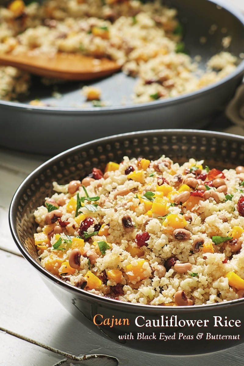 Cajun Cauliflower Rice Recipe with Black-Eyed Peas - a healthy plant-based, vegan, grain-free, gluten-free, allergy-friendly recipe for a Prosperous New Year