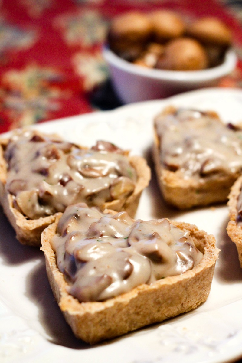 Savory Vegan Mushroom Tartlets Recipe with Chestnuts - a spin-off from The Great British Baking Show (dairy-free, egg-free, optionally nut-free, and soy-free with a creamy, gravy-like filling and whole wheat crust