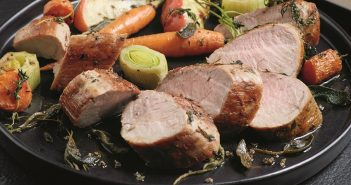 Pan-Roasted Pork Tenderloin and Vegetables with Apple Cider Glaze Recipe - naturally dairy-free, gluten-free, nut-free, soy-free, and food allergy-friendly. By Chef Scott