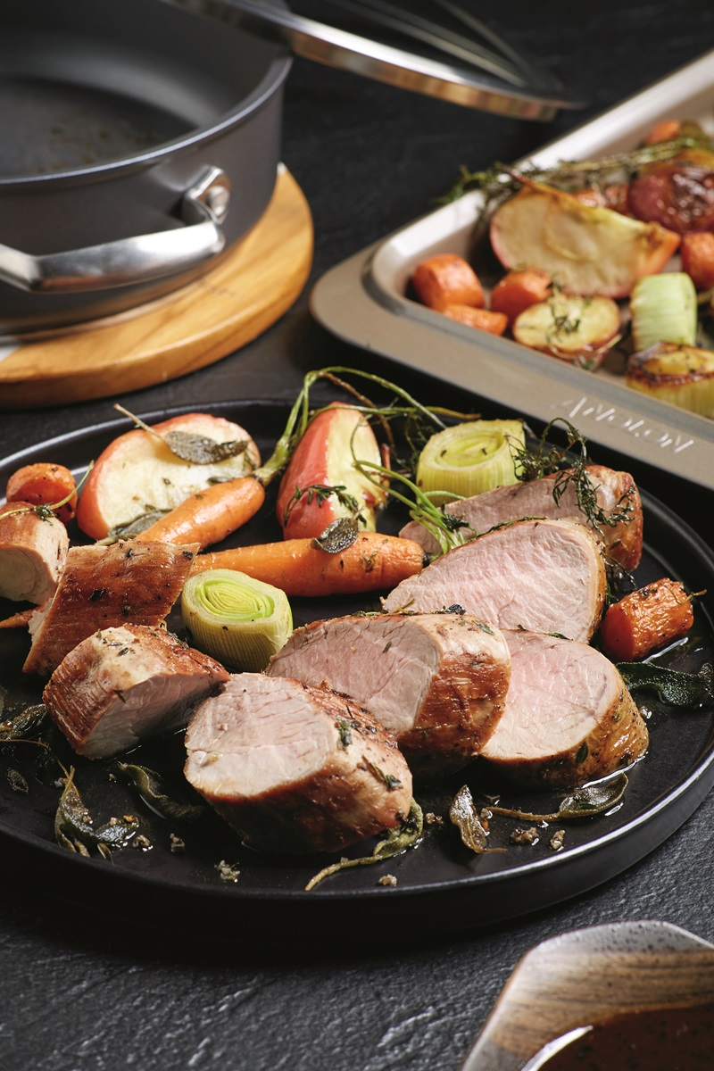 Pan-Roasted Pork Tenderloin and Vegetables with Apple Cider Glaze Recipe - naturally dairy-free, gluten-free, nut-free, soy-free, paleo, and food allergy-friendly. By Chef Scott