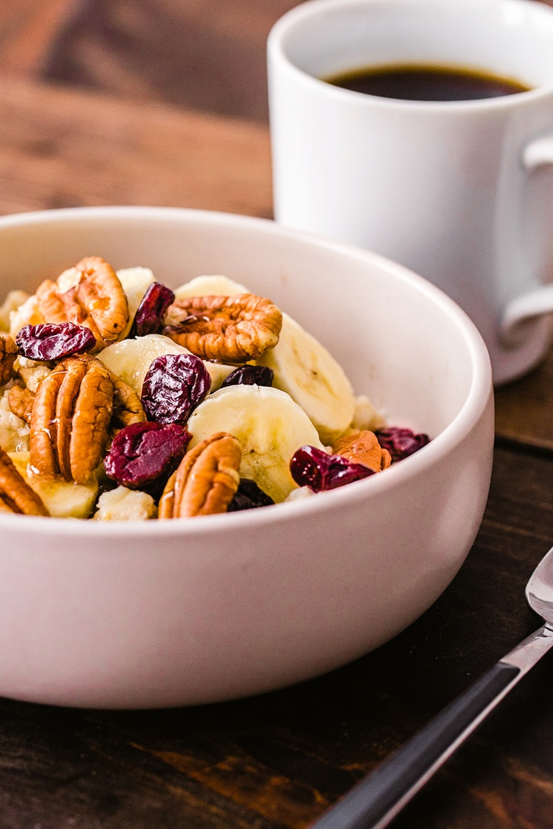 Honey Pecan Oatmeal Recipe with Bananas and Cherries - infused with dairy-free pecan milk too! Plant-based with vegan and gluten-free options.