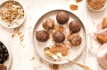 Chocolate Cherry Pecan Energy Balls Recipe - quick snack bites for anytime energy. Plant-based, vegan, gluten-free, and healthy.