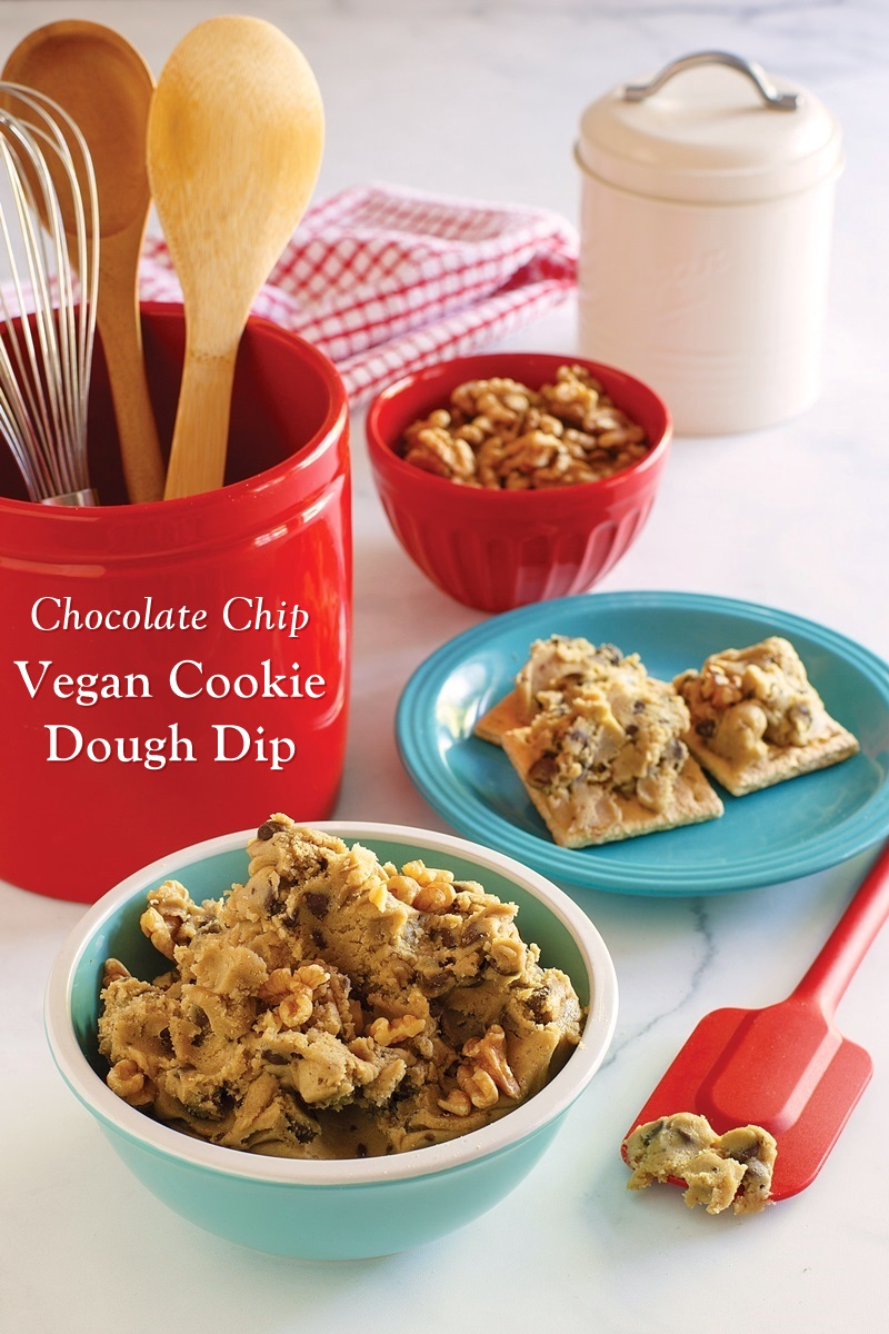 Chocolate Chip Vegan Cookie Dough Dip Recipe - also gluten-free and grain-free! Super creamy and a sweet treat with dipping suggestions