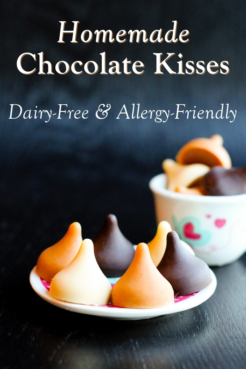 Homemade Dairy-Free Chocolate Kisses Recipe - Shown in semi-sweet chocolate, peanut butter, and white chocolate! Vegan, gluten-free and optionally allergy-friendly too!