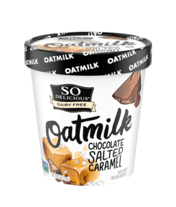 So Delicious Oatmilk Frozen Dessert - Dairy-Free Ice Cream in New Cool, Creamy Flavors (vegan, gluten-free, nut-free, soy-free) - includes ingredients, allergen details, more product info and user reviews! Pictured: Chocolate Salted Caramel