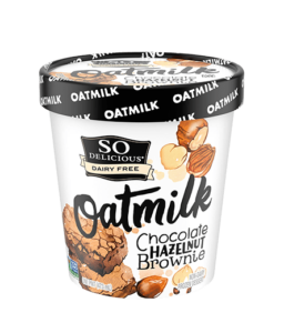 So Delicious Oatmilk Frozen Dessert - Dairy-Free Ice Cream in New Cool, Creamy Flavors (vegan, gluten-free, nut-free, soy-free) - includes ingredients, allergen details, more product info and user reviews! Pictured: Chocolate Hazelnut Brownie