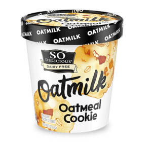 So Delicious Oatmilk Frozen Dessert - Dairy-Free Ice Cream in New Cool, Creamy Flavors (vegan, gluten-free, nut-free, soy-free) - includes ingredients, allergen details, more product info and user reviews! Pictured: Oatmeal Cookie