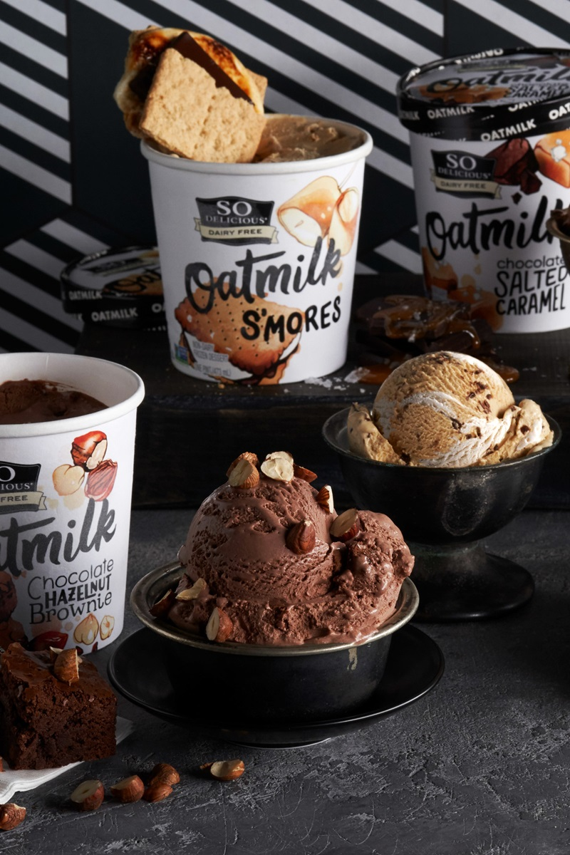 So Delicious Oatmilk Frozen Dessert - Dairy-Free Ice Cream in New Cool, Creamy Flavors (vegan, gluten-free, nut-free, soy-free) - includes ingredients, allergen details, more product info and user reviews! Pictured: New 2020 Flavors