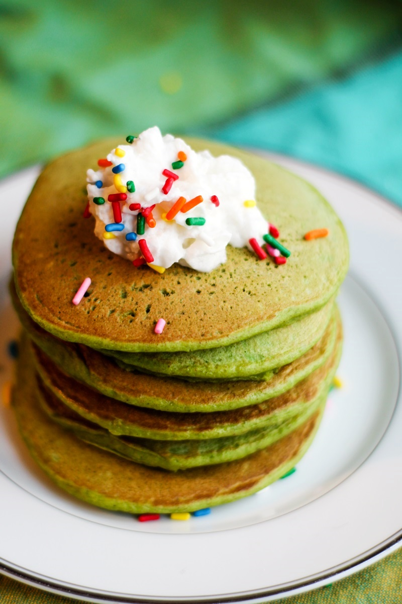 Naturally Green Pancakes Recipe - Great for St Patrick's Day, Christmas, or any Pancake-worthy Day! Dairy-free, nut-free, soy-free and plant-based with egg-free and vegan option.