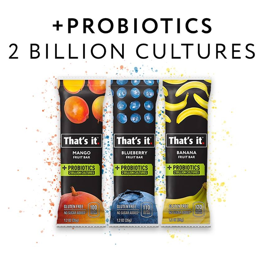 That's It Probiotics Fruit Bars are a revolutionary way to get your probiotics AND prebiotics in one healthy snack. Just 2 ingredients, all natural, dairy-free, top allergen-free, vegan, paleo, and Whole30 compliant! 2 billion probiotics in 3 flavors: mango, banana, and blueberry