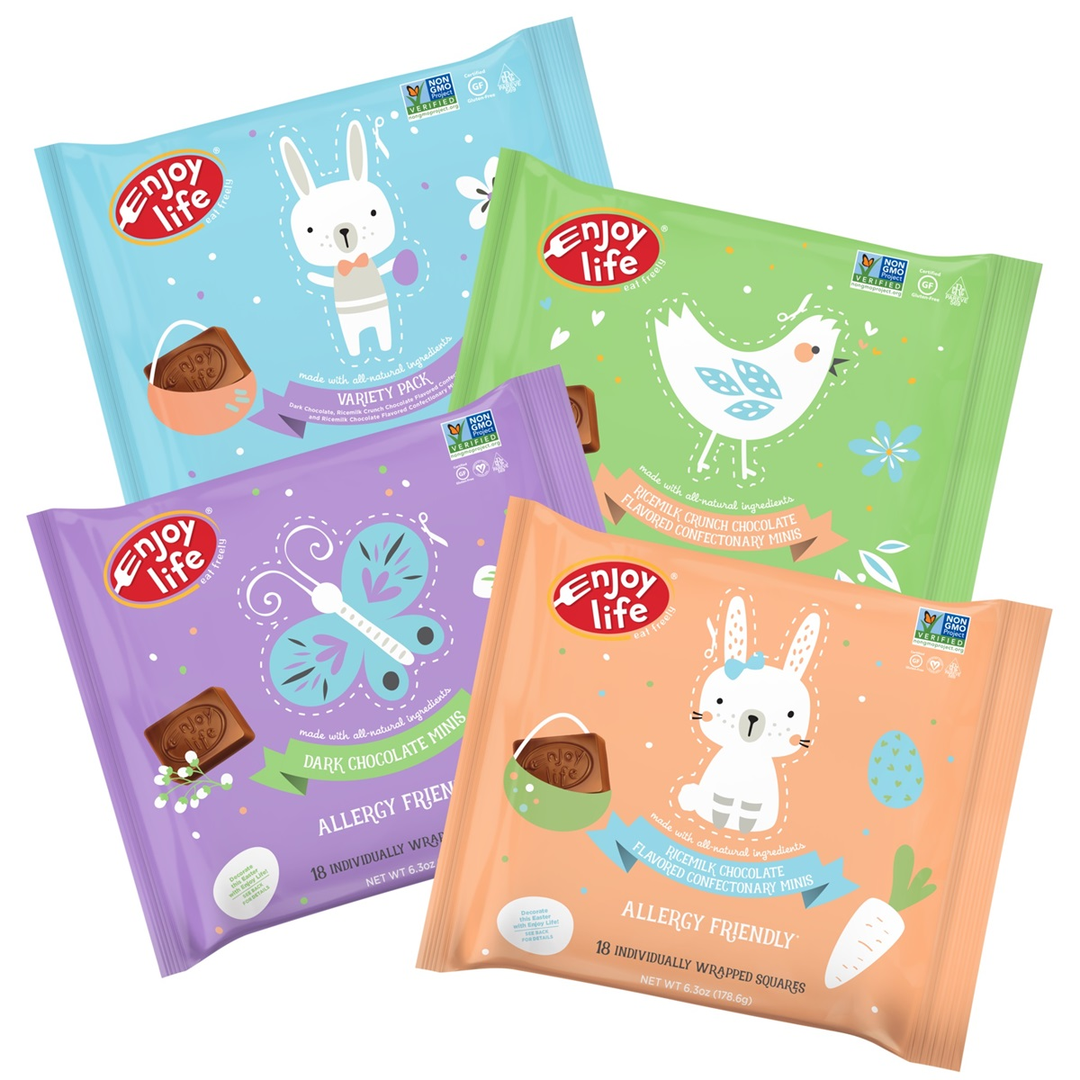 The Dairy-Free Chocolate Easter Bunny and More Round-Up - vegan with gluten-free and allergy-friendly options - including creme-filled eggs and white chocolate treats! Pictured: Enjoy Life Easter Chocolate
