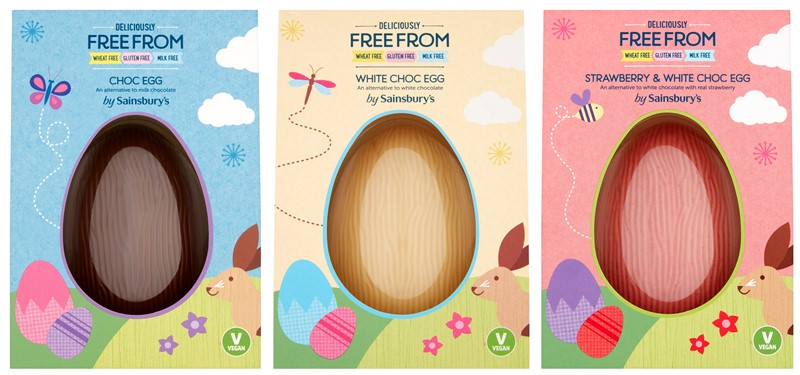 Dairy-Free Easter Chocolate in Australia, the UK and the rest of Europe - most options are vegan and gluten-free, some soy-free and nut-free, too! Pictured: Sainsbury Free From Eggs