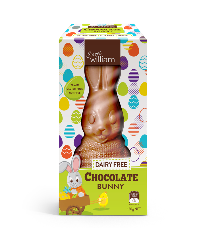 Dairy-Free Easter Chocolate in Australia, the UK and the rest of Europe - most options are vegan and gluten-free, some soy-free and nut-free, too! Pictured: Sweet William Bunnies