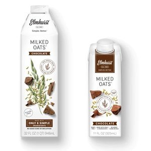 Elmhurst Milked Oats Reviews and Information - Dairy-free, soy-free, and vegan oat milk in several flavors and two sizes: 32-ounce and single serve. Pictured: Chocolate Flavor