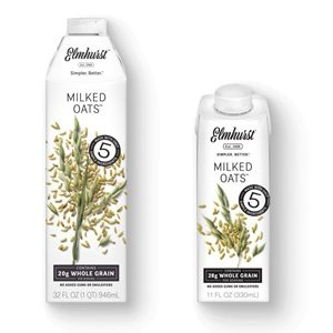 Elmhurst Milked Oats Reviews and Information - Dairy-free, soy-free, and vegan oat milk in several flavors and two sizes: 32-ounce and single serve. Pictured: Original Flavor