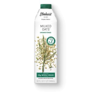 Elmhurst Milked Oats Reviews and Information - Dairy-free, soy-free, and vegan oat milk in several flavors and two sizes: 32-ounce and single serve. Pictured: Unsweetened Flavor