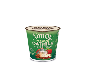 Nancy's Oatmilk Yogurt Combines Plant Protein and Non-Dairy Probiotics (Review, Ingredients, Allergen Info & More) - Dairy-Free, Nut-Free, Gluten-Free, Soy-Free & Vegan. Pictured: Apple Cinnamon