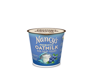 Nancy's Oatmilk Yogurt Combines Plant Protein and Non-Dairy Probiotics (Review, Ingredients, Allergen Info & More) - Dairy-Free, Nut-Free, Gluten-Free, Soy-Free & Vegan. Pictured: Blueberry