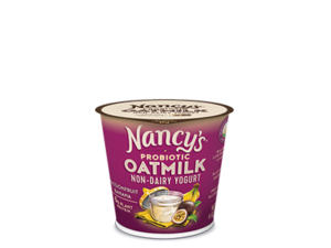 Nancy's Oatmilk Yogurt Combines Plant Protein and Non-Dairy Probiotics (Review, Ingredients, Allergen Info & More) - Dairy-Free, Nut-Free, Gluten-Free, Soy-Free & Vegan. Pictured: Passion Fruit Banana