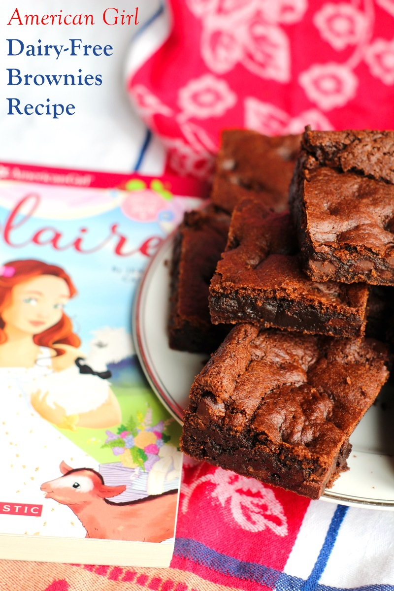 American Girl Dairy-Free Chocolate Chip Brownies Recipe - adapted from Blaire Cooks Up a Plan. The recipe happens to be egg-free, nut-free, soy-free, and vegan too!