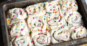 Vegan Birthday Cake Cinnamon Rolls Recipe - Dairy-Free and Egg-Free Kids Can Cook Treat for Mother's Day or any special day.
