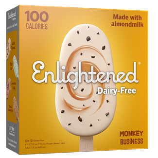 Enlightened Dairy-Free Ice Cream Bars Review and Information - ingredients, availability, nutrition facts, and more for these vegan, gluten-free, low calorie frozen dessert bars