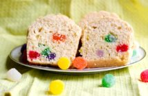 Dairy-Free Gumdrop Bread Recipe with Vegan Option - nut-free and optionally soy-free too. Baked into mini loaves. Kids can cook treat.