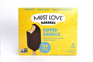 Must Love Bananas Dipped Frozen Dessert Bars Reviews and Info - Vegan, Paleo Banana Nice Cream enrobed in Dairy-Free Chocolate. Three Flavors!