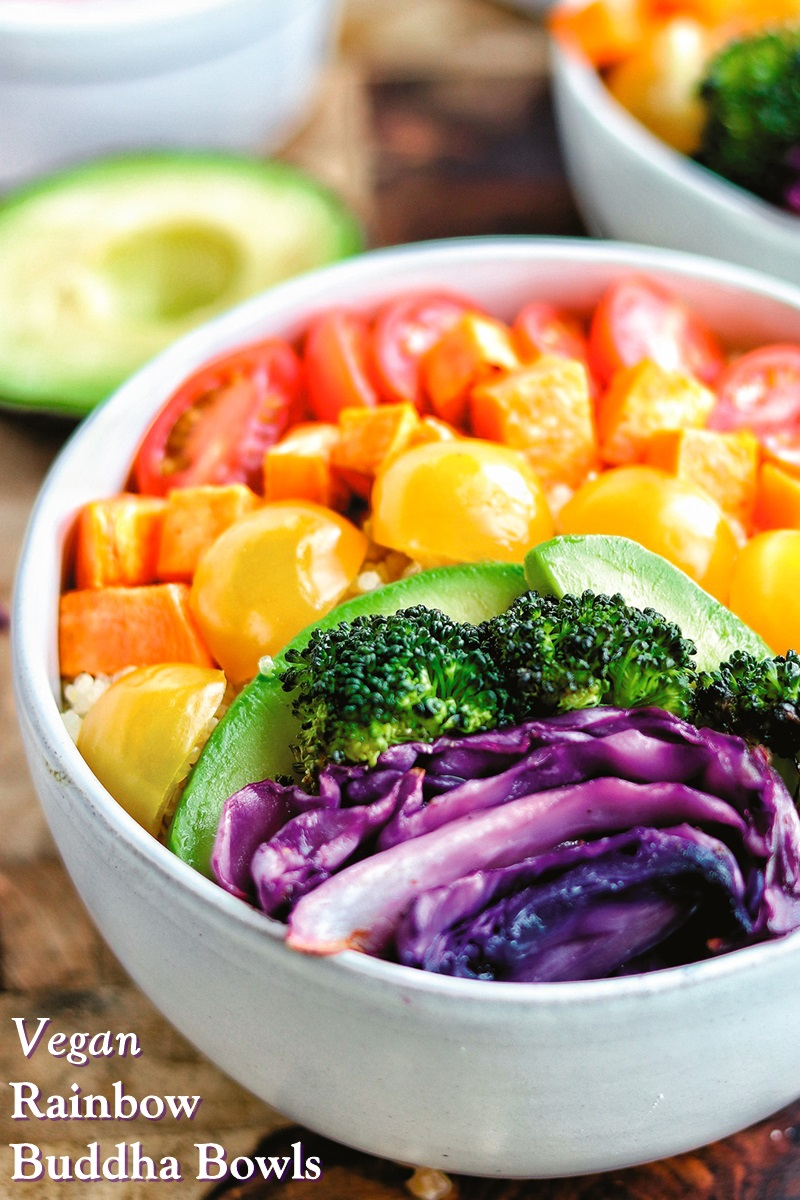 Vegan Rainbow Buddha Bowls Recipe with fresh and roasted vegetables. Includes dairy-free salad dressing tips. Gluten-free and allergy-friendly.