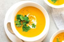 Dairy-Free Roasted Carrot Bisque - a creamy plant-based soup that's delicious and nourishing. Sample recipe from Eat Dairy Free: Your Essential Cookbook for Everyday Meals, Snacks, and Sweets