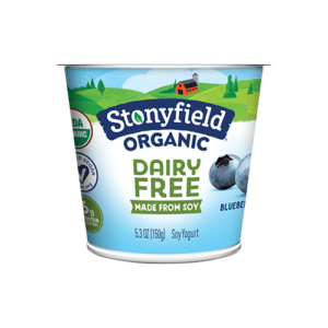 Stonyfield Organic Dairy-Free Soy Yogurt Reviews and Information. Pictured: Blueberry