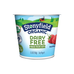 Stonyfield Organic Dairy-Free Soy Yogurt Reviews and Information. Pictured: Raspberry