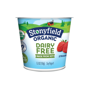 Stonyfield Organic Dairy-Free Soy Yogurt Reviews and Information. Pictured: Strawberry