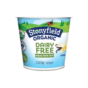 Stonyfield Organic Dairy-Free Soy Yogurt Reviews and Information. Pictured: Vanilla