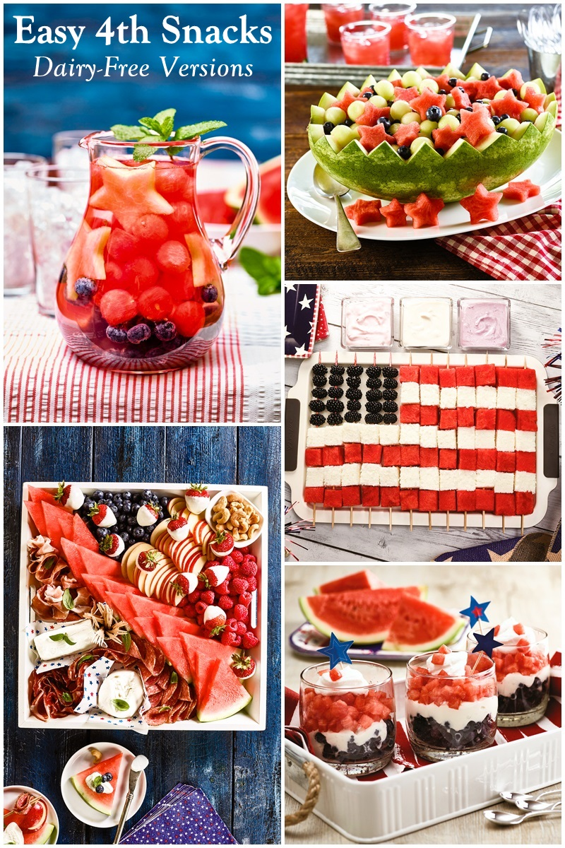 5 Easy, Fun & Delicious Dairy-Free Recipes for a Patriotic Picnic (angel food cake flag, festive infused water, patriotic parfaits, fruity charcuterie board, stars and stripes salad)